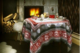 Gstaad tablecloth by Beauville Country Winter Christmas linens