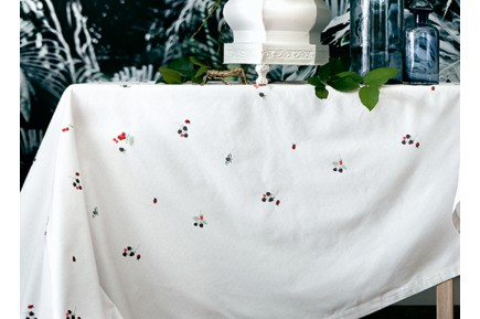 Berries U0026 Bugs Luxury Embroidered Tablecloth