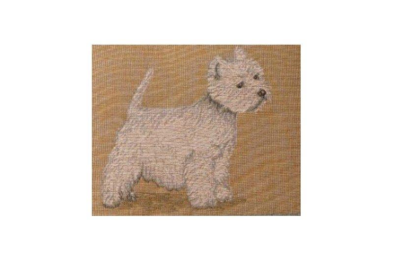 Luxury French Decorative Pillow With Westie Dog