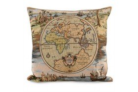World Discovery Map French Tapestry Pillow