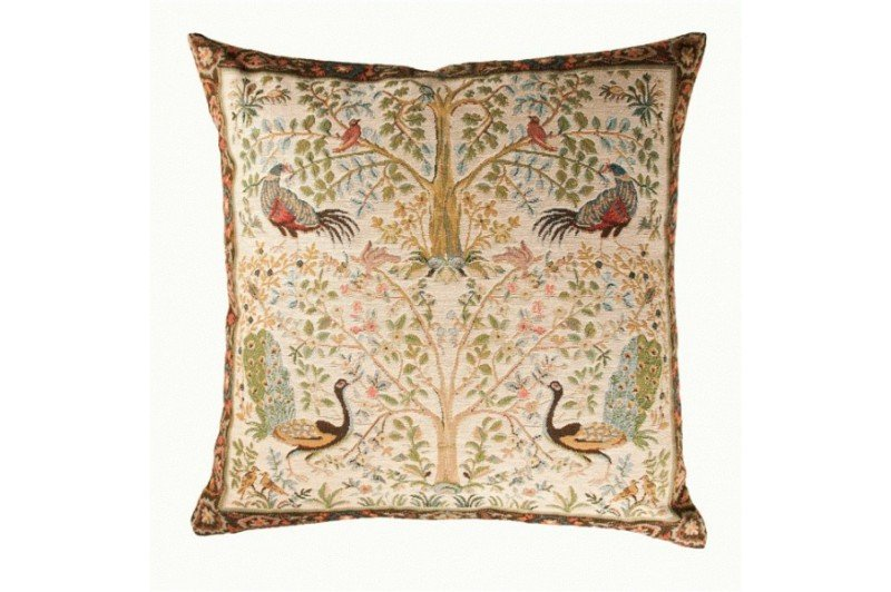 Luxury Peacock Tree Of Life Decorative Tapestry Pillow