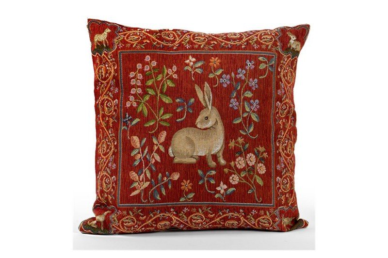 Luxury French Medieval Hare Tapestry Accent Pillow