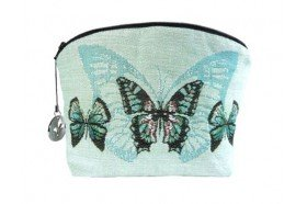Blue Butterfly Luxury Makeup Bag