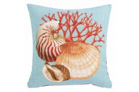 Tropical Seashells and Corals Tapestry Pillow