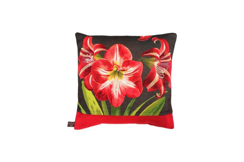 Red Amaryllis Chic Luxury Tapestry Decorative Pillow