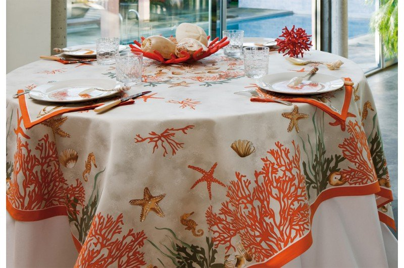 Coral French Tablecloth By Beauville Luxury French Table