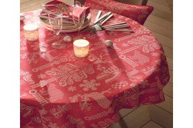 Mille Deer Red Christmas Tablecloth Garnier-Thiebaut