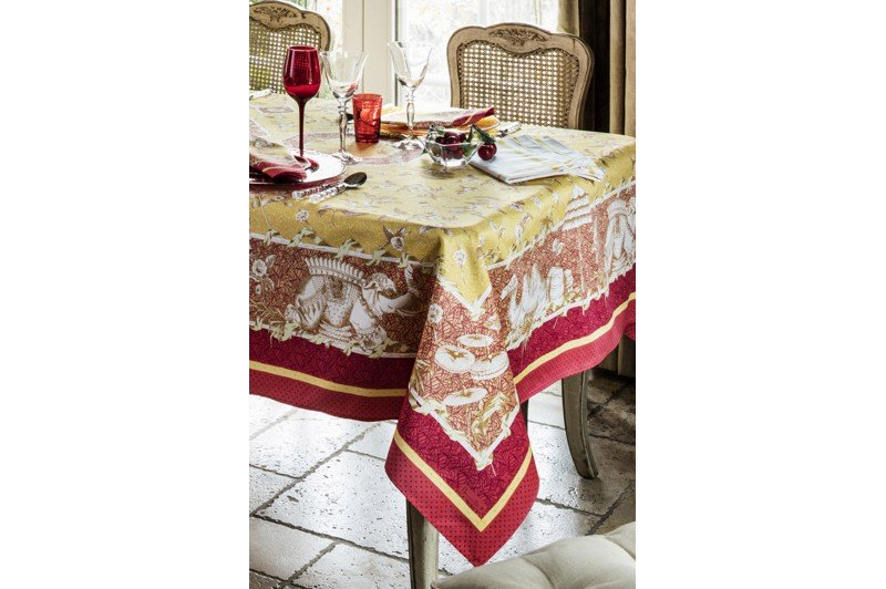 Pondichery Yellow Tablecloth By Beauvill 233 Luxury French