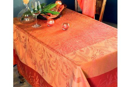 songe d'ete paprika french damask tablecloth