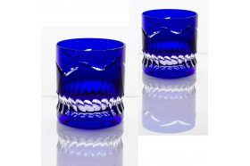 Blue Envol Luxury double old fashioned whiskey tumblers by Cristallerie de Montbronn