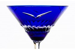 Blue Envol Luxury cocktail martini glasses by Cristallerie de Montbronn