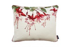 Pink Fuchsia flowers luxury French Tapestry Pillow by Art de Lys