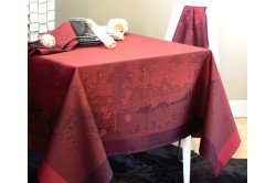 Paysage Scarlett French luxury jacquard tablecloth by Garnier-Thiebaut