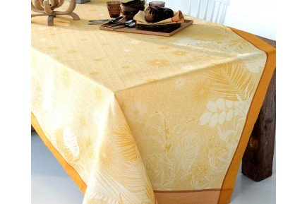 Borneo Amber French Jacquard Tablecloth By Garnier Thiebaut