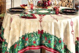 Holiday Jour de Fete French luxury Christmas Tablecloth by Beauville
