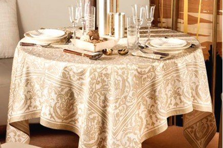 Saint Tropez Sand Beige Fine Rench Tablecloth By Beauville