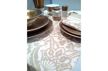 saint tropez sand beige fine french table runner by beauville
