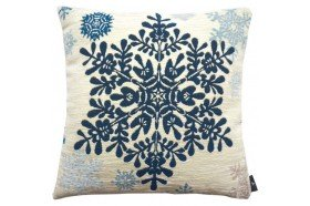 Large blue snowflake luxury Tapestry decorative Pillow and Cushion by Art de Lys