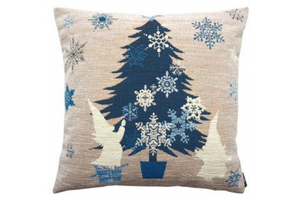 Blue Christmas Tree Luxury Tapestry Pillow By Art De Lys