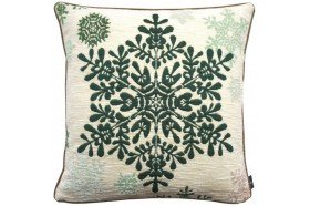 Large Green Snowflake French Tapestry Pillow by Art de Lys