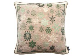 Green Snowflakes French Tapestry Pillow by Art de Lys