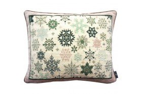 Green snowflake rain French Tapestry Pillow by Art de Lys