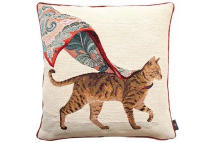 Walking tabby cat with scarf French Tapestry Pillow by Art de Lys