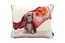 Kitten tabby cat with scarf French Tapestry Pillow by Art de Lys