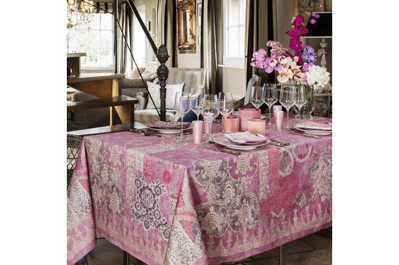 Rialto Pink Lilac Tablecloth By Beauville French Luxury