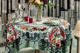 Arne Celadon luxury French Tablecloth by Beauvillé