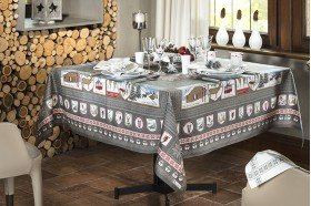A la Neige Snow Fun Grey French tablecloth by Beauvillé