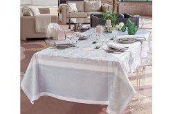 Lysandra Mist French luxury Tablecloth by Garnier-Thiebaut, romantic, wedding, formal occasions