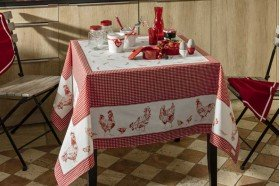 Chickens Red Tablecloth