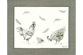 Chickens Grey Country French Placemat made in France by Beauvillé