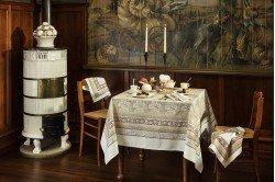 Vine Leaf Beige Feuilles de vigne French luxury Tablecloth by Beauvillé