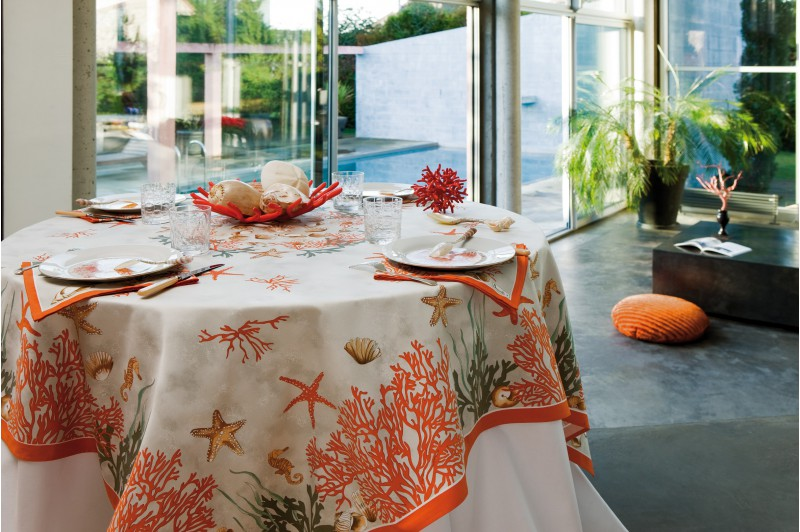 Lovely Coral Luxury Tablecloth By Beauville · Coral Luxury Tablecloth By Beauville  ...