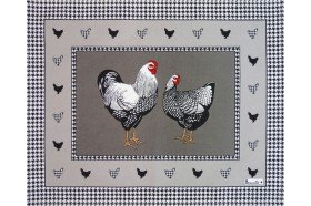 Picoti Chickens placemats Country French linens by Beauvillé