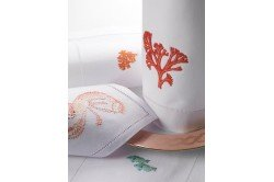 Coral Embroidered Tablecloth
