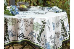 French luxury tablecloth with agapanthus flowers