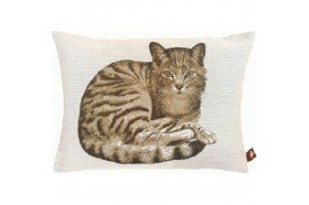 Resting Tabby Cat French Tapestry Pillow