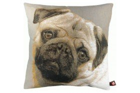 Pug Dog Face French Tapestry Pillow