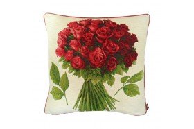 Red Roses Bouquet Tapestry Pillow