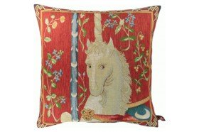 Mediaval Unicorn French Tapestry Pillow