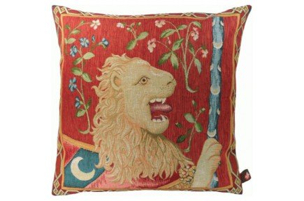 Medieval Lion French Tapestry Pillow