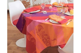 Mille Fiori  Feuillage French coated Tablecloth by Garnier-Thiebaut