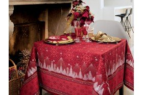 Megeve Red Christmas tablecloth by Beauvillé