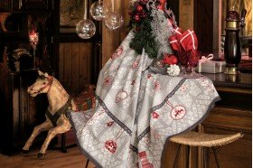 L'Hiver Winter Joy Silver French Christmas tablecloth