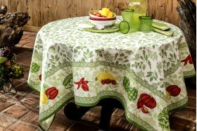 Romarin Country French Coated Tablecloth by Beauville