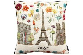 Paris Eiffel Tower Monuments and Flowers luxury Tapestry decorative Pillow and Cushion by Art de Lys