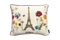 Paris Flowers and Tower luxury Tapestry decorative Pillow and Cushion by Art de Lys